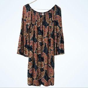 Honeyme Boho Style Paisley Tunic Dress Size Medium